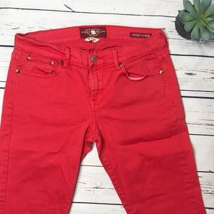 {Lucky Brand} sz 8 red sweet n crop jeans